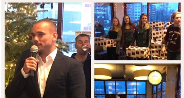 Wesley Sneijder reikt kerstpakketten uit aan Voedselbank Ondiep